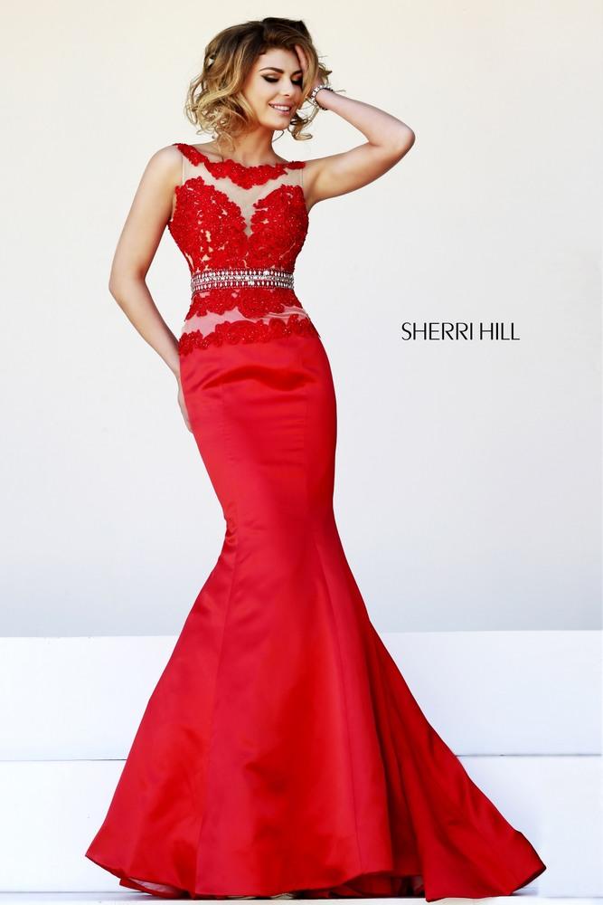 Sherri Hill Red Lace Dress